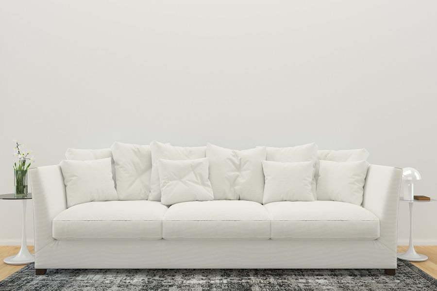 sofa on a rug